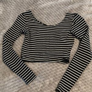black and white stripped cropped shirt